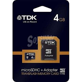TDK Tarjeta de memoria Micro sdhc Clase 4 con adaptador de 4 GB