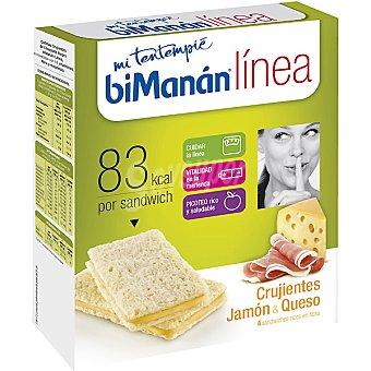 BIMANAN LINEA Mi Tentempié Sándwiches Crujientes de jamón y queso 4x20g caja 80 g 4x20g