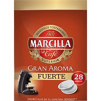 MARCILLA GRAN AROMA Café mezcla 28 monodosis para cafetera Senseo paquete 210 g 28 monodosis