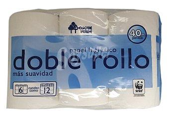 Bosque Verde Papel higienico blanco doble rollo Paquete 6 u