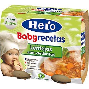 Hero Baby tarrito de lentejas con verduras estuche 400 g pack 2x200g