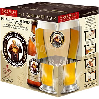 Franziskaner Cerveza rubia de trigo alemana pack 5 botellas 50 cl Pack 5 botellas 50 cl