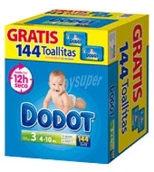 Dodot Caja pañal T3 (4-10 Kg.) + Regalo 144 toallitas 144 ud