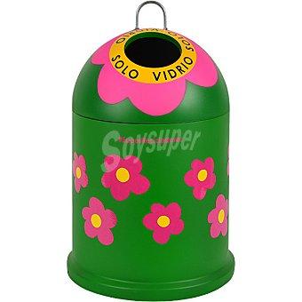 Ecovidrio cubo de reciclaje decorado Flores Agatha Ruiz de la Prada 28x40 cm capacidad 25 l 25 l