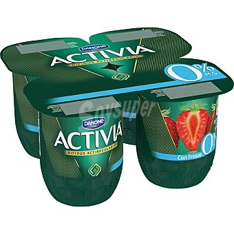 Activia Danone Yogur desnatado con sabor a fresa 0% materia grasa Pack 4 unidades 125 g