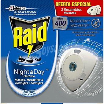 Raid Insecticida volador eléctrico Night & Day mosquitos comunes y tigre recambio caja 2 unidades Caja 2 unidades