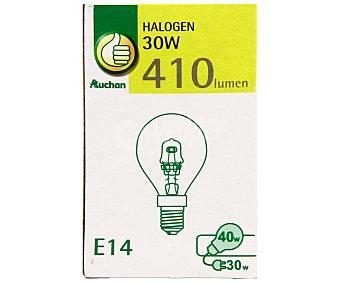 PRODUCTO ECONÓMICO ALCAMPO Bombilla ecohalógena esférica 30W, E14, Luz cálida 1 Unidad