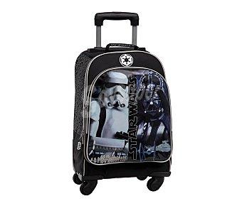 Star Wars Mochila grande con 4 ruedas pivotantes, asas reforzadas, amplio bolsillo frontal con cierre de cremallera e imágenes de un soldado imperial y del carismático Darth Vader 1 unidad