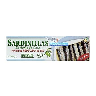 Hacendado Sardinillas aceite oliva bajas en sal Lata pack 2 - 180 g escurrido 130 g