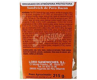 Lord Sandwiches Sándwich Biggets Pavo Bacón Pan Amapola 225 Gramos
