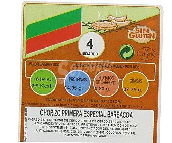CAMPOGRIL Chorizo 1ª Especial para barbacoa elaborado de Cerdo sin gluten 300 Gramos
