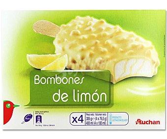 Auchan Bombón helado de limón con salsa de limón, recubiertos de chocolate blanco con trozos de galleta recubiertos de manteca de cacao 4 unidades de 100 mililitros
