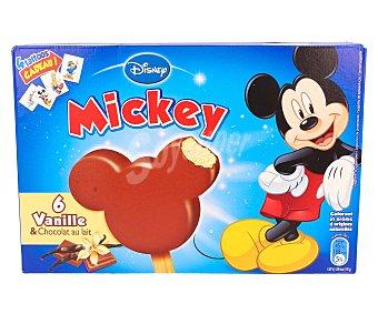 Mickey Bombón de vainilla recubierto de chocolate con leche 6 unidades de 50 mililitros