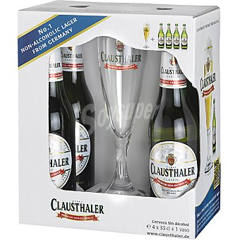 Clausthaler Cerveza sin alcohol pack 4 botella 33 cl Pack 4 33 cl