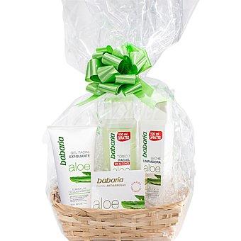 Babaria Cesta Aloe Vera con gel facial exfoliante + tónico facial + leche limpiadora frasco 300 ml + crema facial antiarrugas tarro 50 ml tubo 150 ml