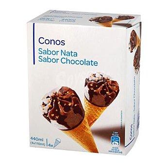 Carrefour Conos de chocolate y nata 4 ud