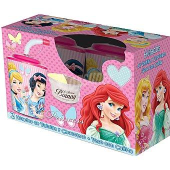 LA IBENSE BORNAY Disney Princesas helados de vainilla y chocolate + vaso con pajita estuche 140 ml 2 unidades