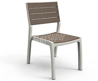 KETER Silla modelo Harmony, con estructura y patas de aluminio, aspecto Polywood (no se oxida) y acabado madera, medidas: 22.8x22.8x34 centímetros 1 unidad