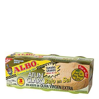 """Albo Atún claro en aceite oliva virgen extra """"bajo en sal"""" Pack 3x85 g"""
