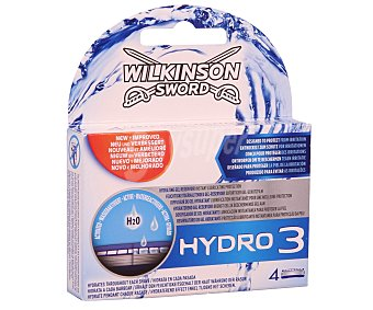 Wilkinson Recambio para maquinilla de afeitar Hydro 3 Blister 4 uds