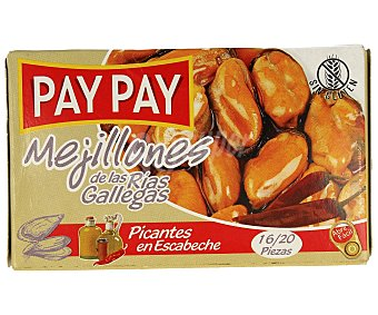 PAY PAY Mejillones picantes en escabeche de las rías gallegas Caja de 70 g
