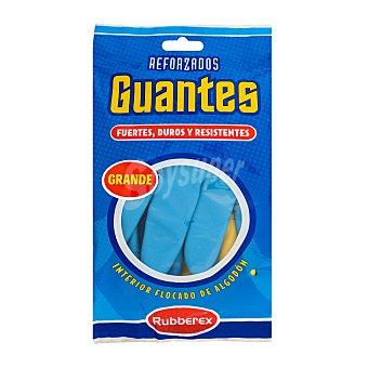 Rubberex Guantes reforzado azul y amarillo talla grande Paquete de 2 unidades