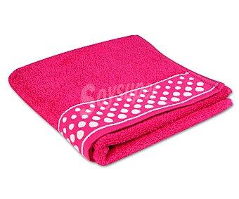 Productos Económicos Alcampo Toalla 100% algodón color rosa fucsia con cenefa estampada Topos para lavabo, densidad de 360 gramos/m², 50x90 centímetros 1 unidad