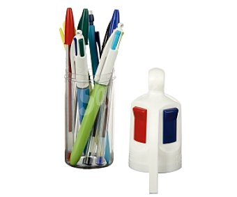 Bic Lote de 2 bolígrafos rectráctiles de 4 colores, 3 bolígrafos cristal original con tinta de color azul, negro y rojo, y 1 portaminas, todo ello dentro de un estuche con forma de bolígrafo de 4 colores 1 unidad