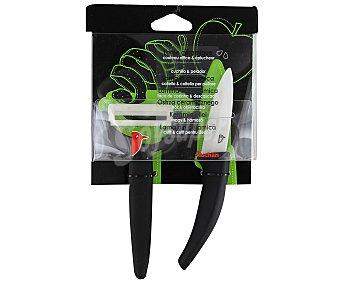 AUCHAN Juego de cuchillo de 7,6 centímetros, más pelador con hojas de cerámica 1 Unidad