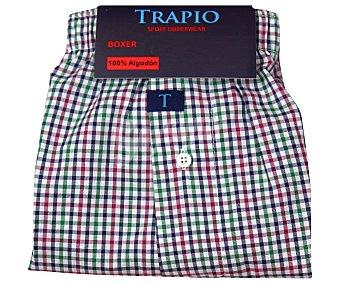 Trapio Boxer de algodón, color azul con cuadros, talla L L