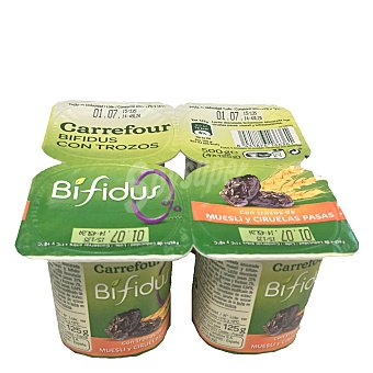 Carrefour Yogur desnatado Bífidus de ciruela-muesli Pack 4x125 g