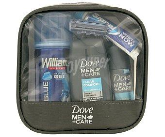 Dove Neceser de viaje de hombre con gel Clean Comfort + desodorante + espuma afeitar Wilkinson + pasta de dientes Signal White Now + cepillo de dientes Signal + cuchilla 1 ud