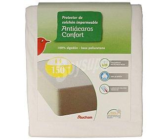 Auchan Protector de colchón impermeable 100% algodón, punto liso antiácaros, 150 centímetros 1 Unidad