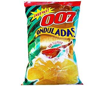 007 Snacks Patatas Fritas Onduladas sabor Jamón 130 Gramos
