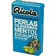 Perlas balsámicas de hierbas suizas sin azúcar con edulcorantes sabor mentol eucalipto Caja 25 g Ricola