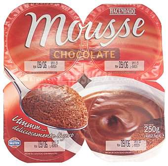 Hacendado Mousse chocolate Pack 4 x 62 g - 248 g