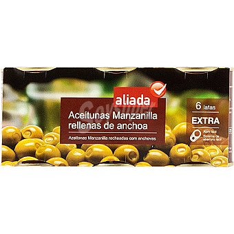 Aliada Aceitunas manzanilla rellenas de anchoa pack 6 latas 50 g neto escurrido Pack 6 latas 50 g