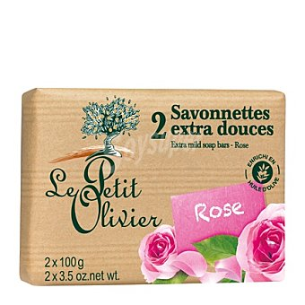 Le Petit Olivier Pastilla de jabón suave de rosa Pack 2x100 g