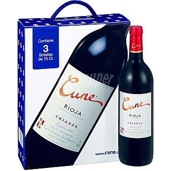 CUNE vino tinto crianza D.O. Rioja estuche cartón 3 botellas 75 cl