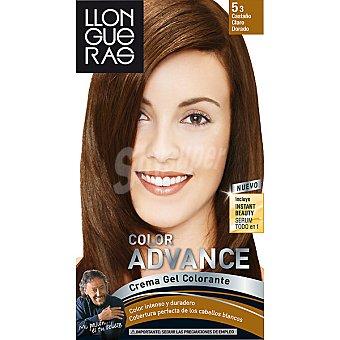 Llongueras Tinte Color Advance castaño claro dorado nº 5.3 crema gel colorante Caja 1 unidad