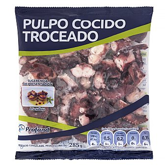 Profand Pulpo cocido troceado congelado Paquete 285 g peso neto escurrido
