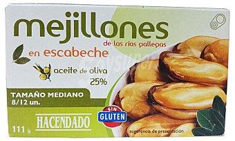 Hacendado Mejillon escabeche 8/12 piezas en aceite oliva medianos Lata 69 g (peso neto escurrido)