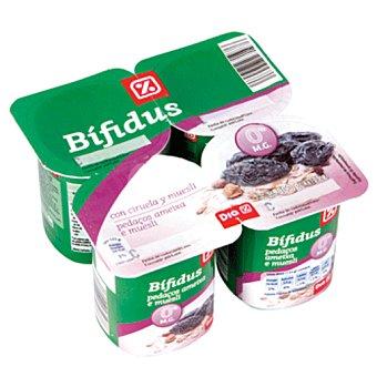 DIA Yogur bífidus con ciruela y muesli 0% grasa pack 4 unidades 125 gr Pack 4 unidades 125 gr