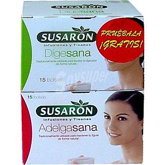 Susaron Tisana Adelgasana para mantener la figura de forma natural + tisana Digesana estuche 15 bolsitas de regalo Estuche 15 bolsitas