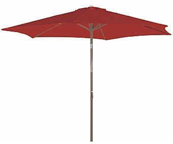 GARDEN STAR Parasol fijo de color terracota con estructura de aluminio de 8 varillas , cobertura de poliester, manivela para abrir y cerrar y 3 metros 1 unidad