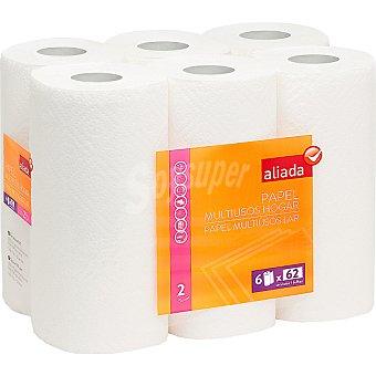 Aliada Rollos de cocina blanco 2 capas paquete 6 rollos Paquete 6 rollos