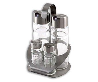 MONIX Conjunto de vinagrera, aceitera, salero y pimentero, modelo Sabor, fabricados en cristal con tapa de acero inoxidable 1 Unidad