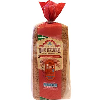 EL CORTE INGLES pan de molde integral 100% natural sin corteza 20 rebanadas  bolsa 450 g