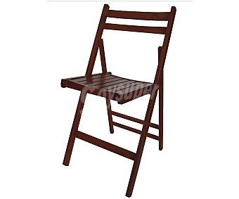 MOBILKIT Silla plegable, fabricada en madera barnizada con acabado en color wengue, 98x46x4.2 centímetros Silla plegable madera