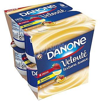 Velouté Danone Yogur 4 fresa, 2 limón y 2 macedonia Velouté pack de 8x120 g